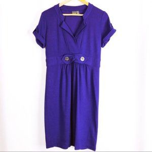 Muse Short Sleeve Button Detail Ponte Dress Size 6